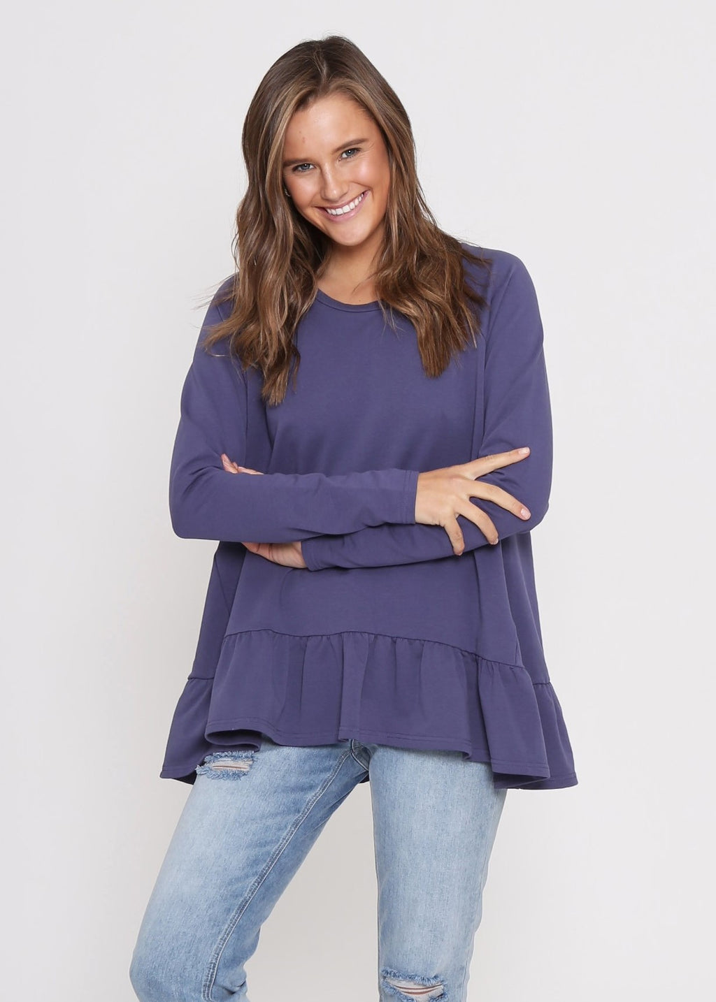 AMY FRILL TOP - NAVY