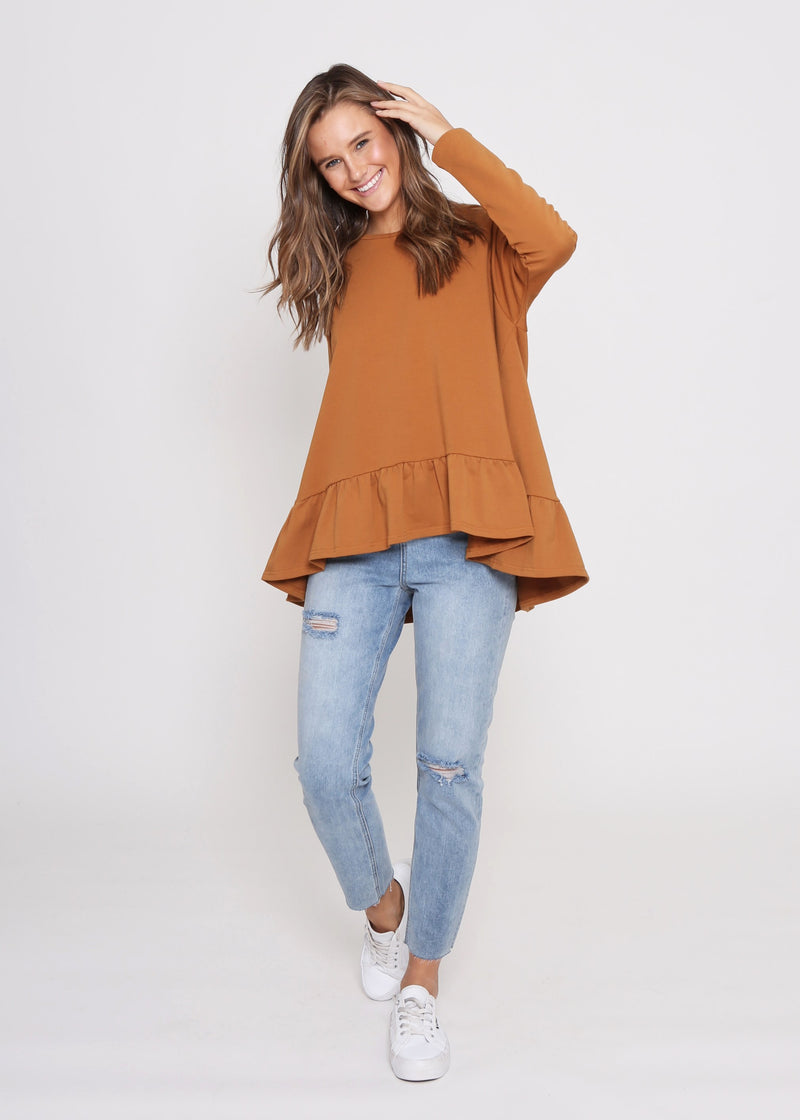 AMY FRILL TOP - RUST - LAST STOCK