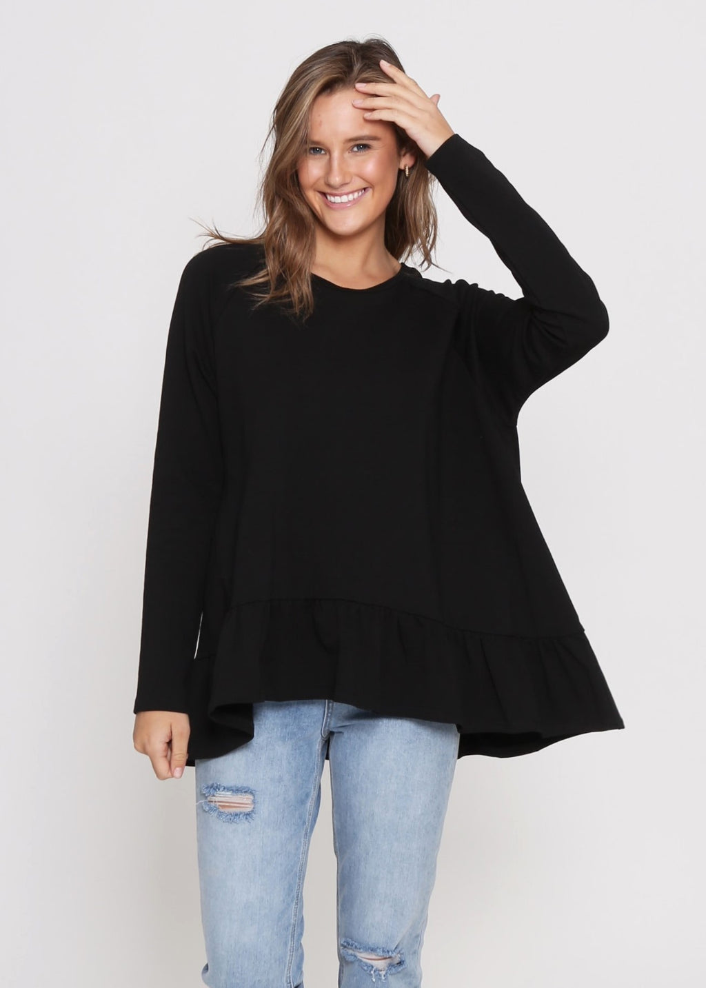 AMY FRILL TOP - BLACK
