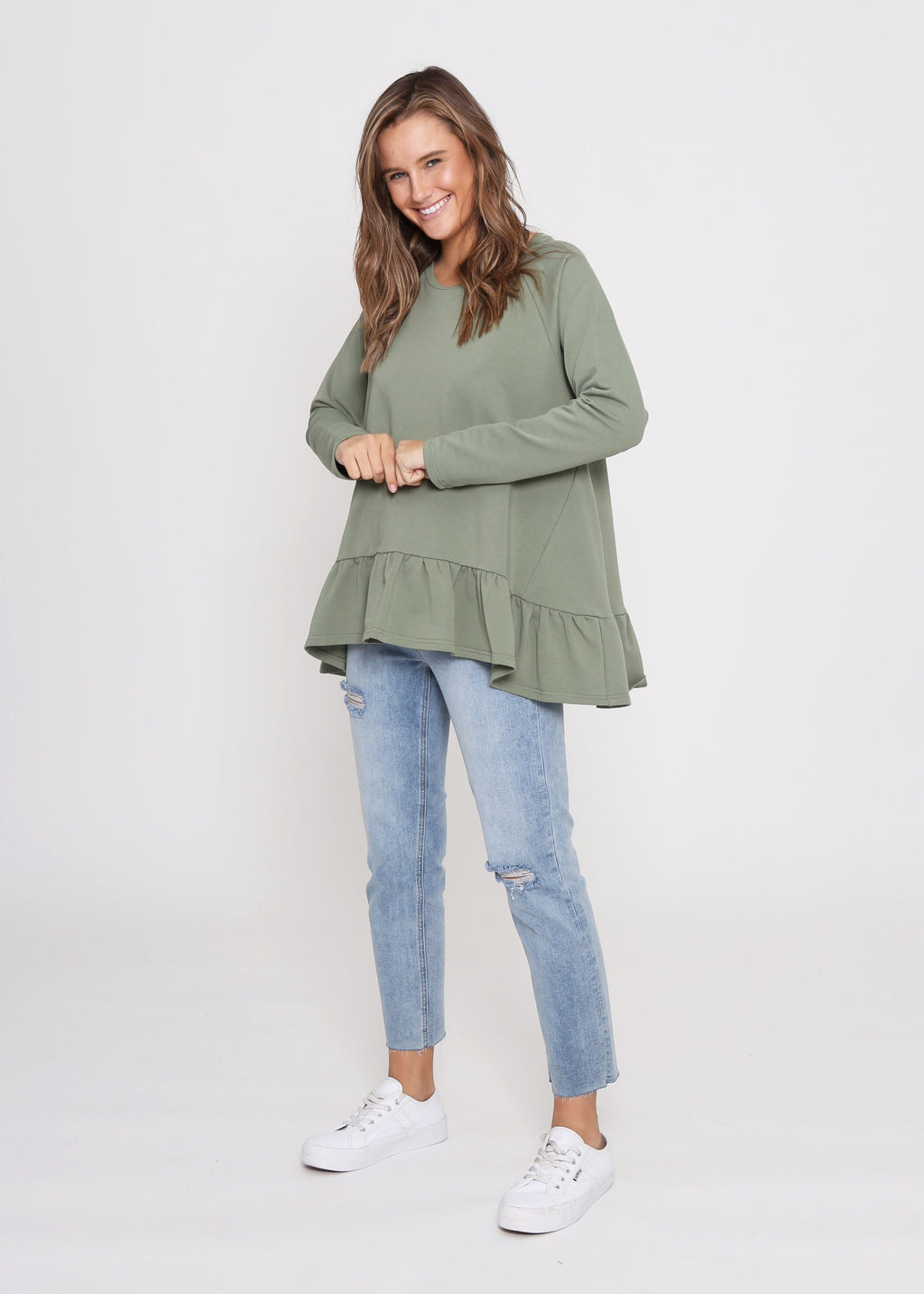 AMY FRILL TOP - KHAKI