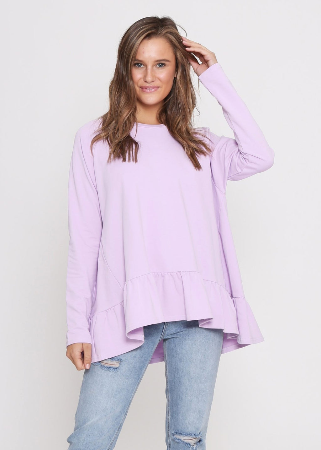 AMY FRILL TOP - LILAC