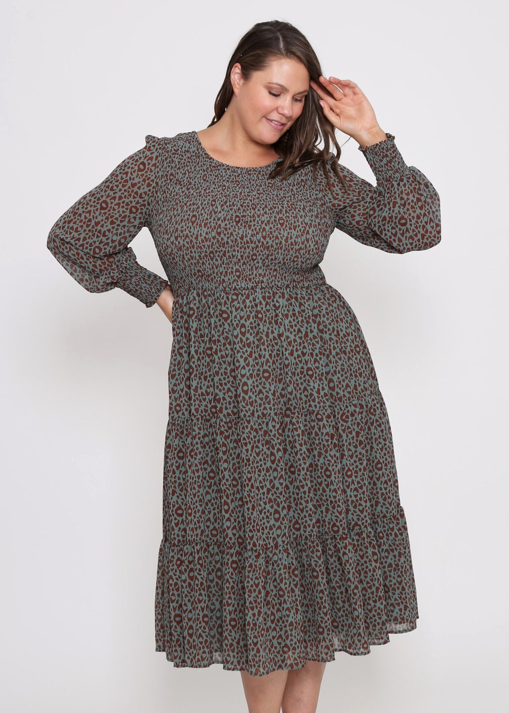 ZAREL DRESS - KHAKI LEOPARD