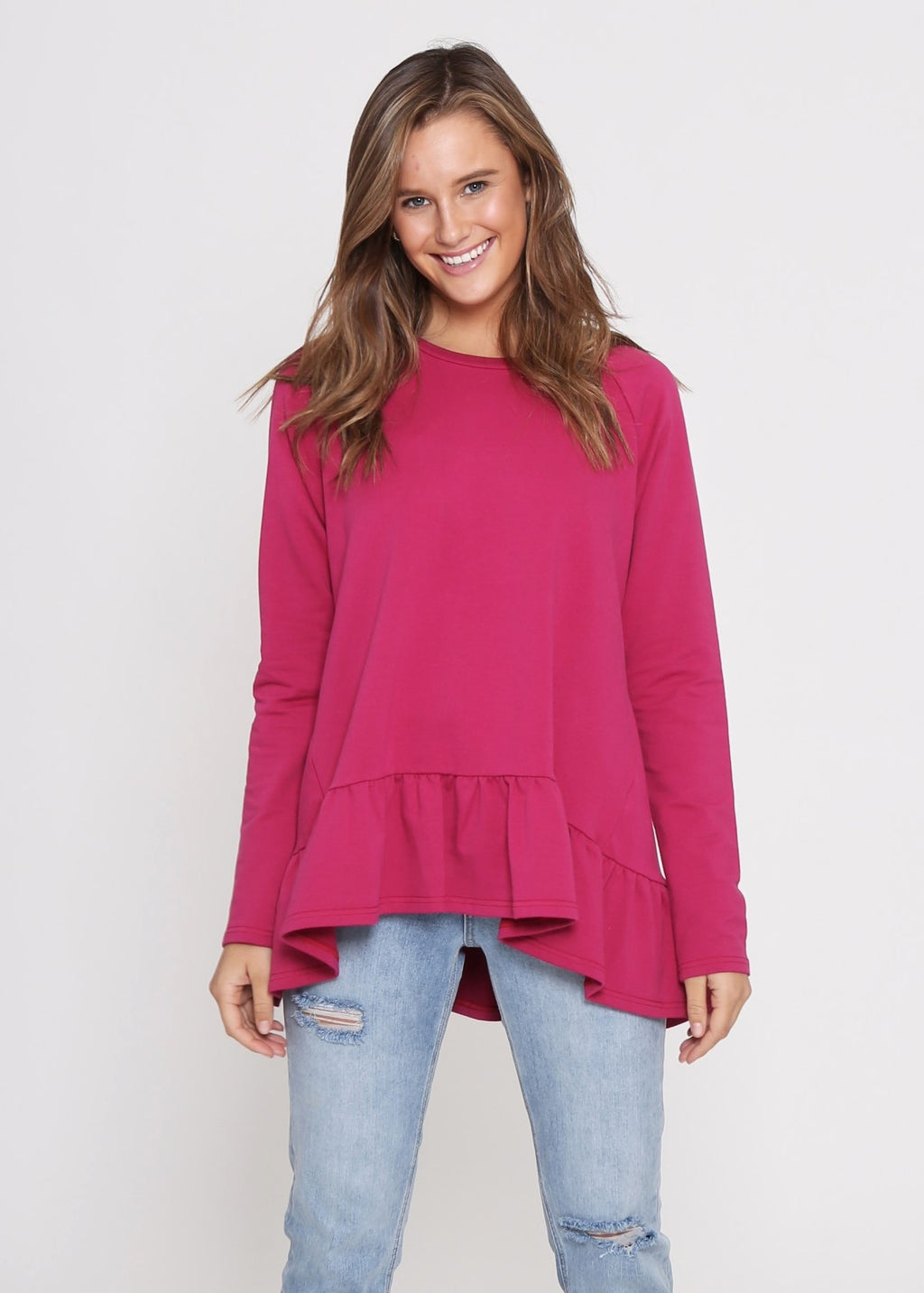 AMY FRILL TOP - WINE