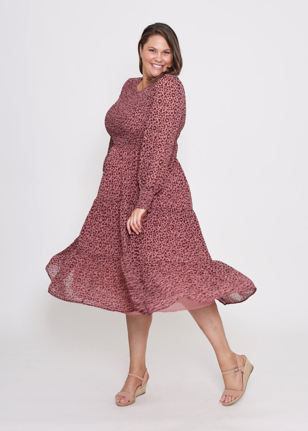 ZAREL DRESS - DARK ROSE LEOPARD