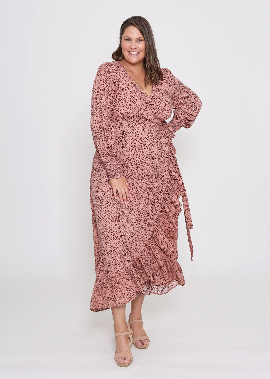 AMELIA WRAP DRESS - BLUSH LEOPARD PRINT