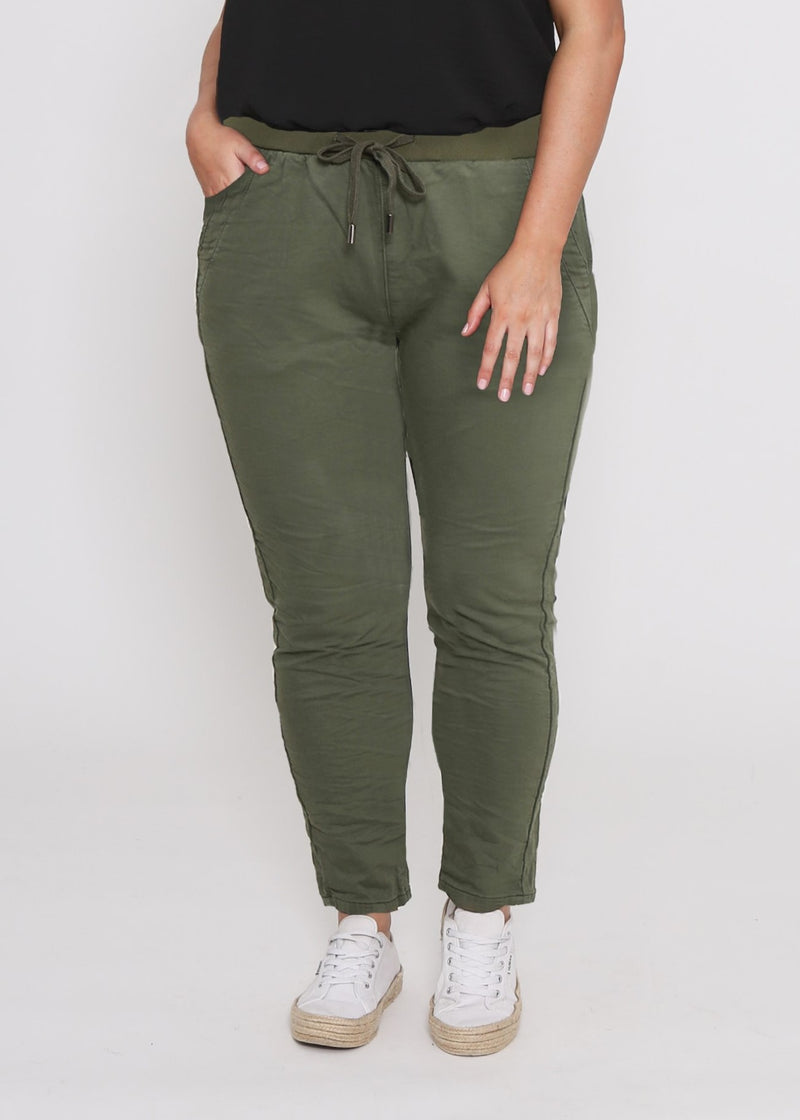 PRE-ORDER - RILEY CURVES DENIM JOGGER - KHAKI
