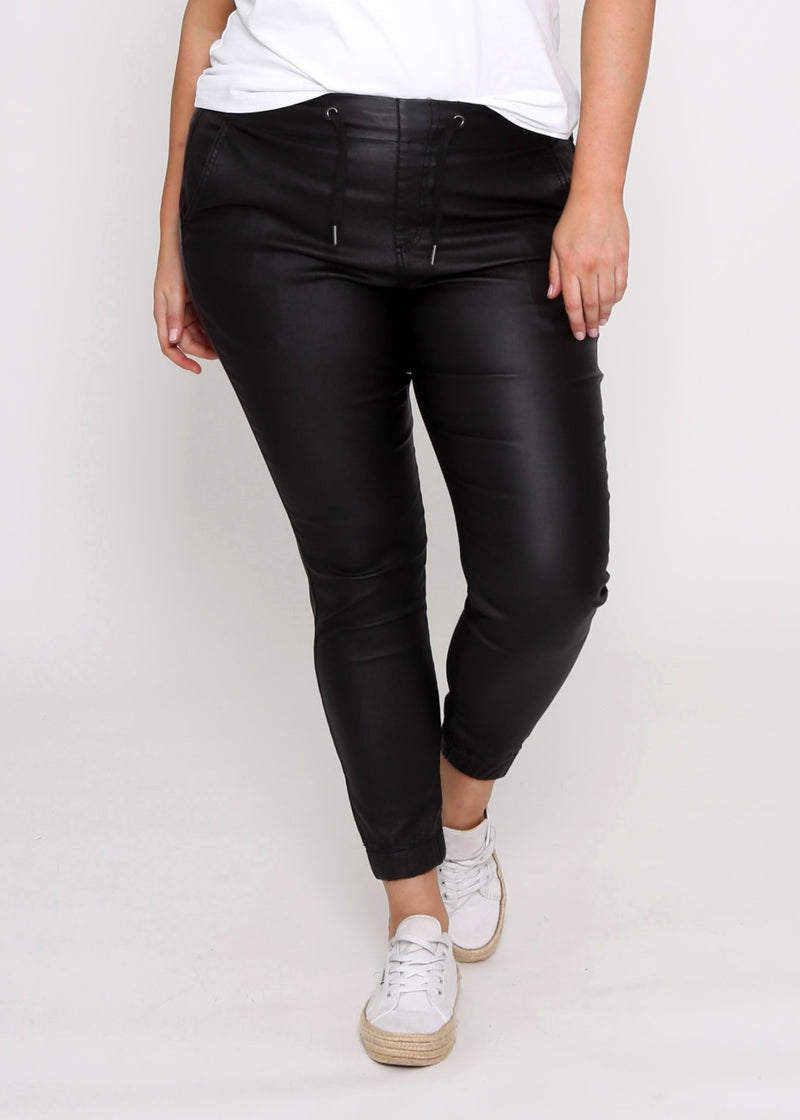 HAYDEN CURVES DENIM JOGGERS - BLACK WET LOOK