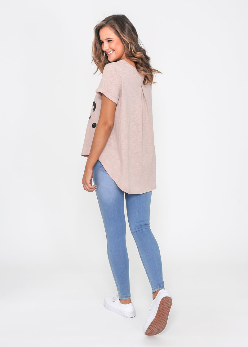 SASHA NYC SEQUIN TEE - BLUSH