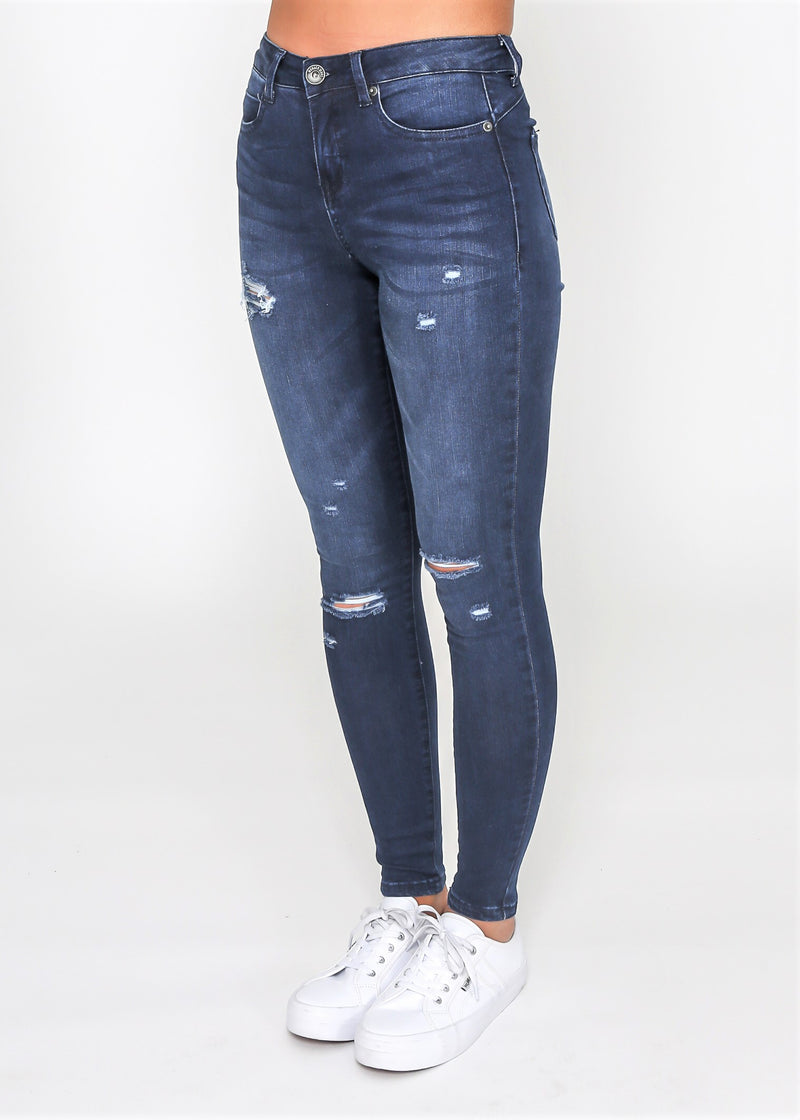KYLIE RIPPED SKINNY JEAN - INK WASH