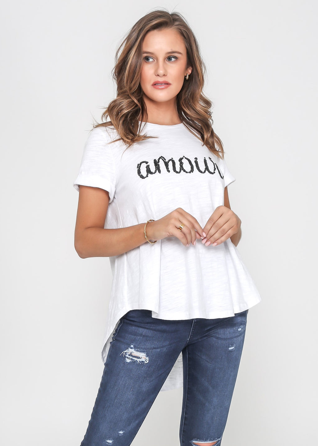 AMOUR SEQUIN TEE - WHITE