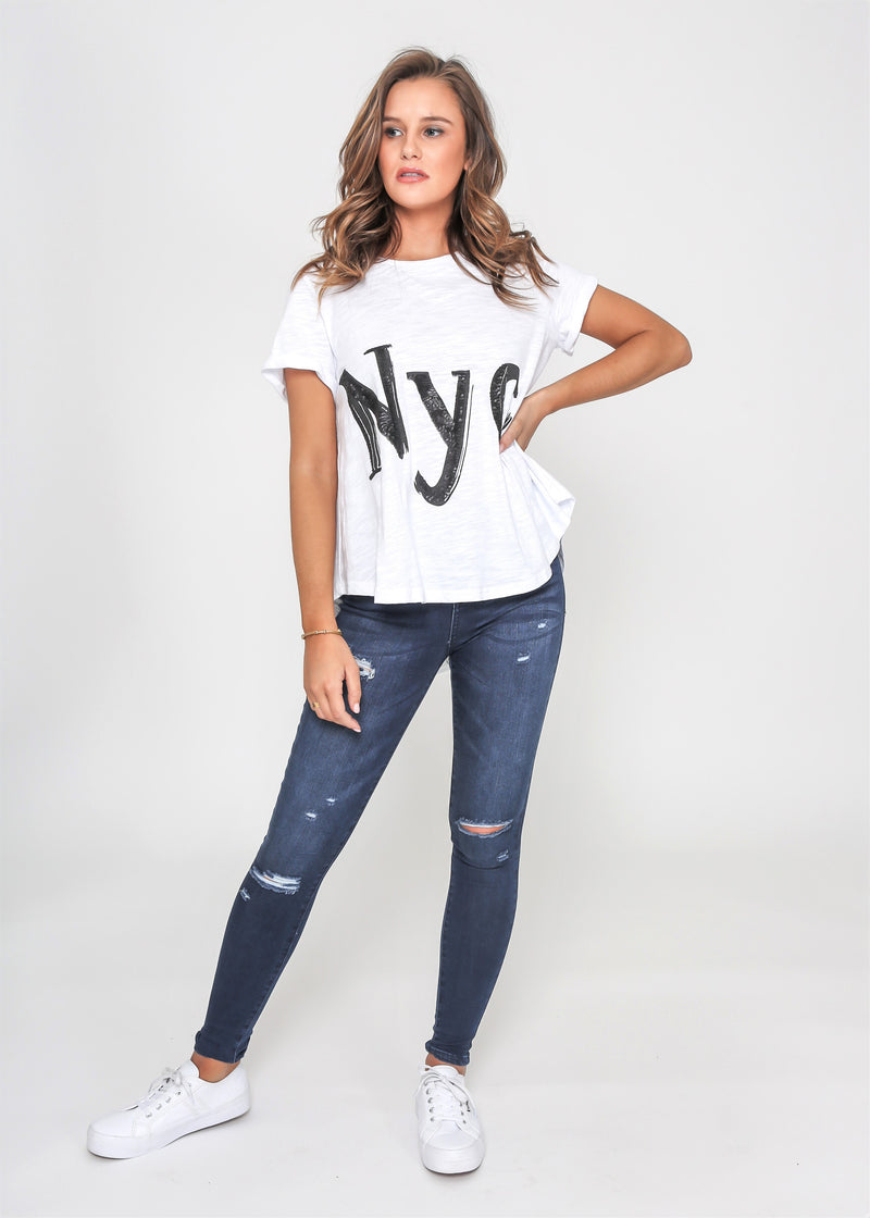 SASHA NYC SEQUIN TEE - WHITE