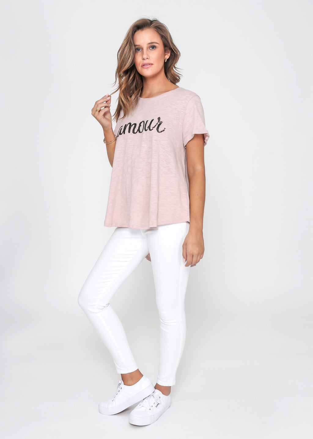 AMOUR SEQUIN TEE - BLUSH