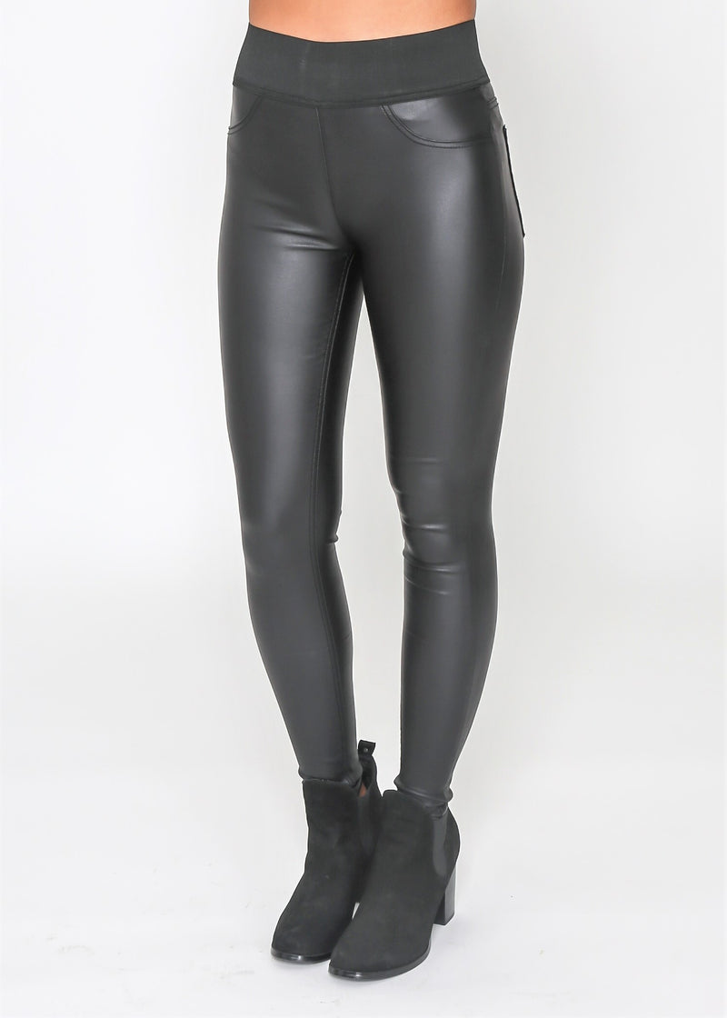ZOE JEGGING - BLACK WET LOOK