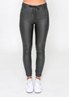 HAYDEN DENIM JOGGER -  BLACK WET-LOOK