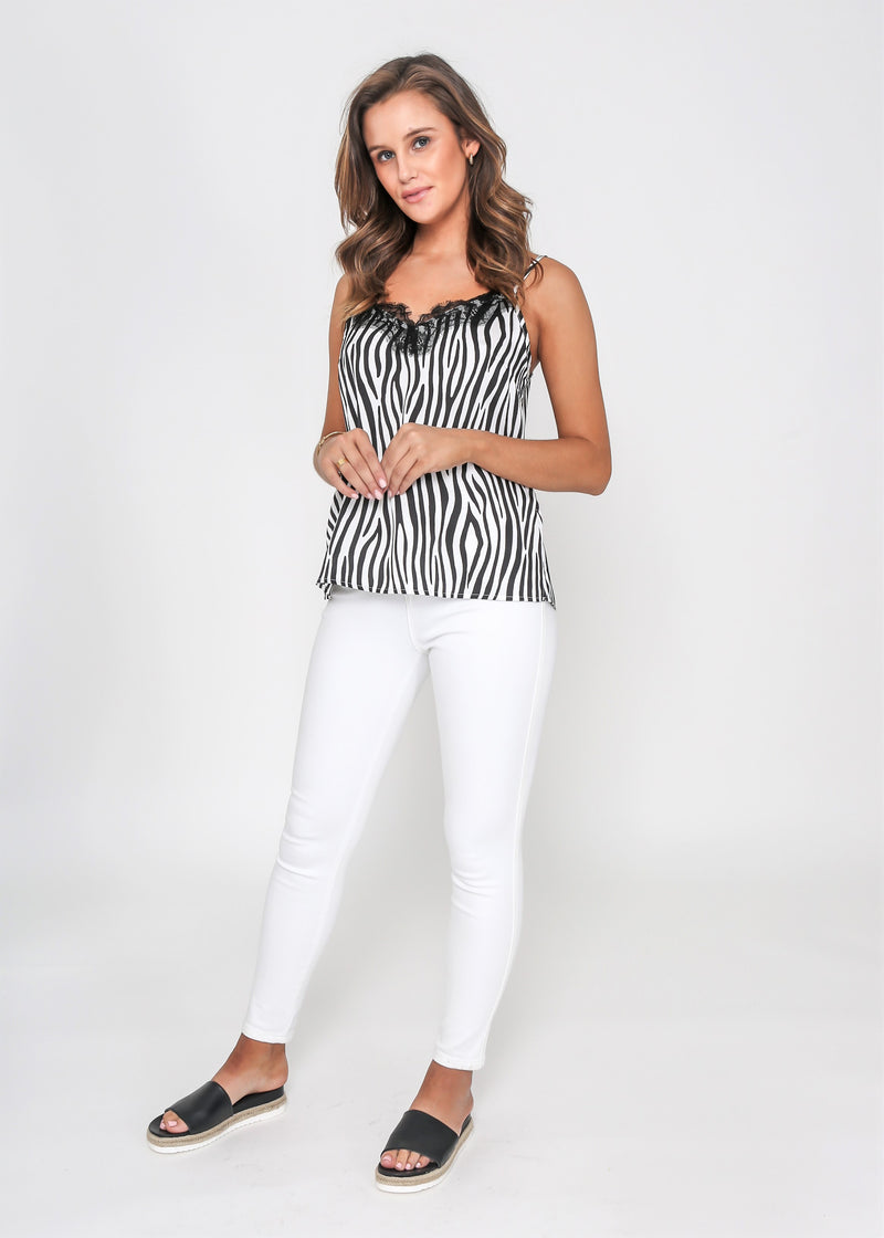 ALICE LACE CAMI -  WHITE ZEBRA