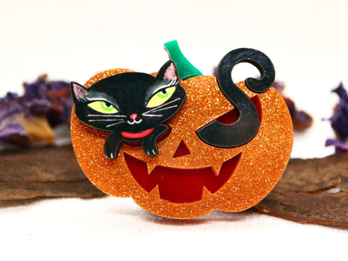 Laliblue - Pumpkin with Black Kitten Brooch