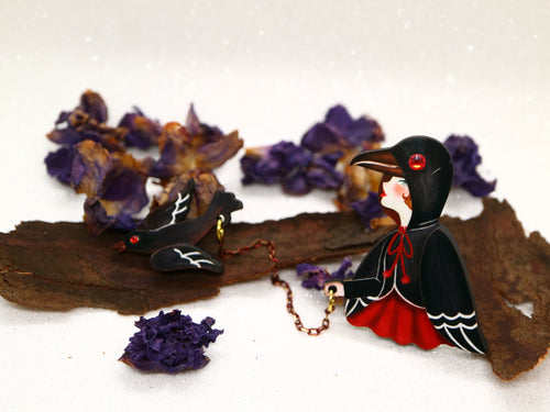 Laliblue - Crow Girl Brooch