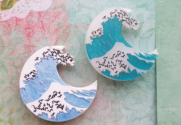 Kimchi and Coconut - The Great Wave Brooch (Blue Marble)