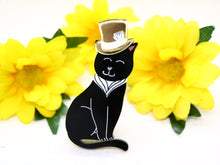 Wintersheart - Mr Gatsby Black Kitty Brooch