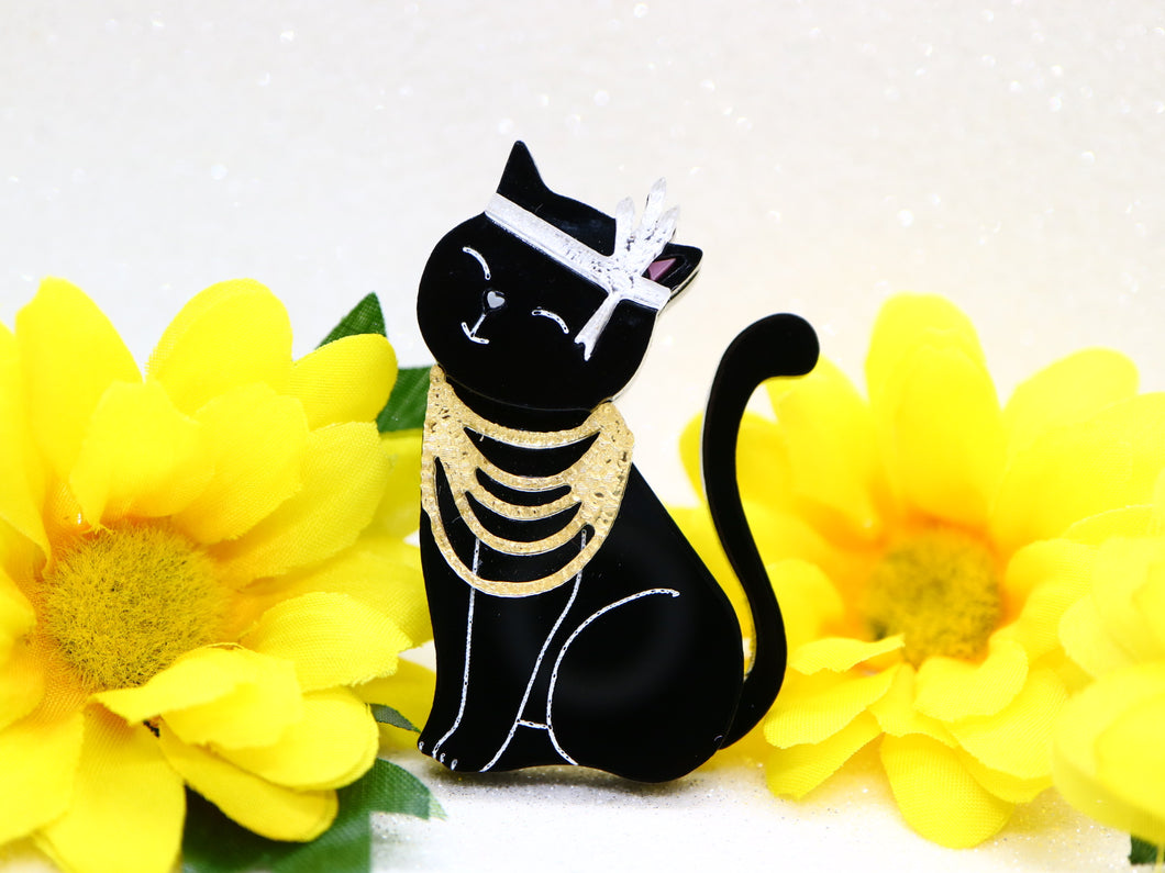 Wintersheart - Mrs Gatsby Black Kitty Brooch