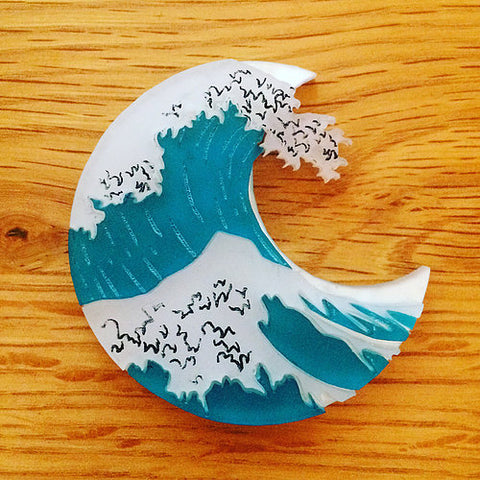 Kimchi and Coconut - The Great Wave Brooch