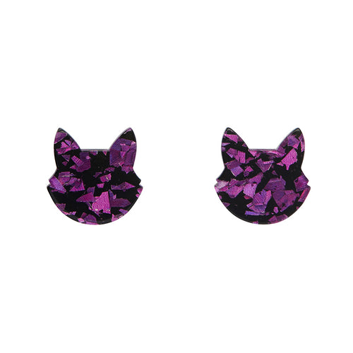 Erstwilder - Cat Head Chunky Glitter Resin Stud Earrings - Purple