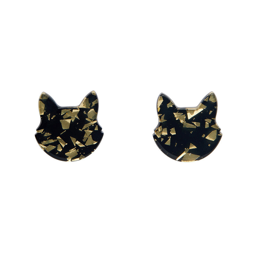 Erstwilder - Cat Head Chunky Glitter Resin Stud Earrings - Yellow
