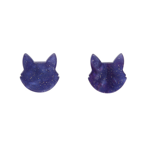 Erstwilder - Cat Head Ripple Glitter Resin Stud Earrings - Purple