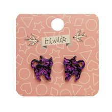 Erstwilder - Pussy Cat Chunky Glitter Resin Stud Earrings - Purple
