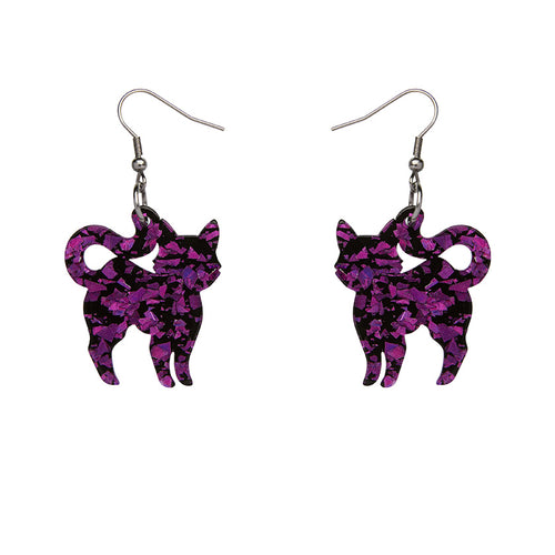 Erstwilder - Cat Chunky Glitter Resin Drop Earrings - Purple
