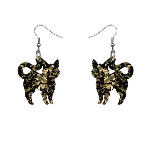 Erstwilder - Cat Chunky Glitter Resin Drop Earrings - Yellow