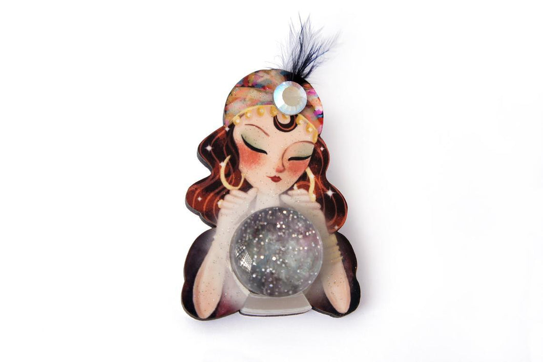 LaliBlue - Fortune Teller with Crystal Ball Brooch