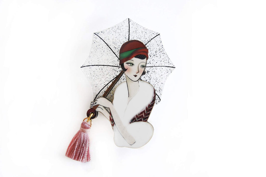 LaliBlue - Girl Brooch with Umbrella