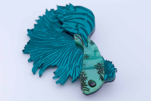 Kimchi and Coconut - Betta Fish Brooch (Teal)