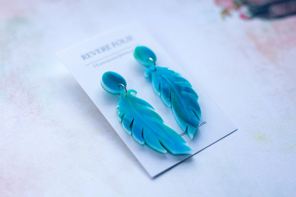 Revere Folie - Feather Earrings - Two tone green