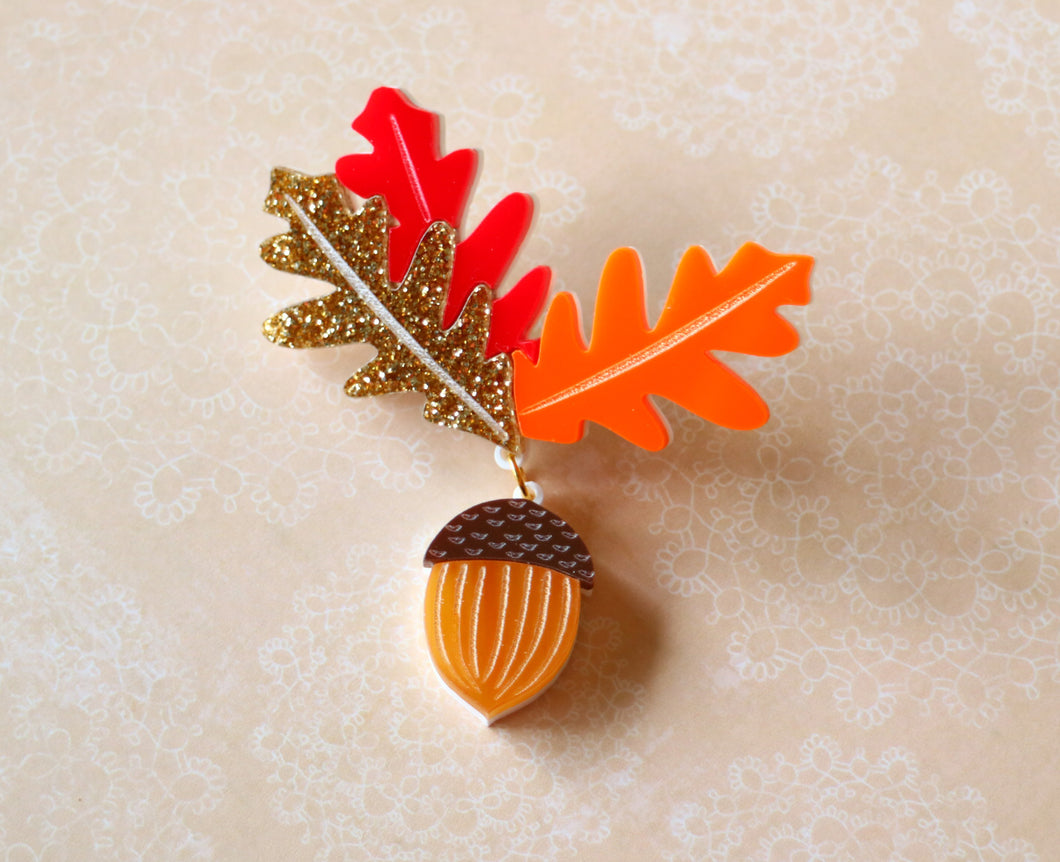 Kimchi and Coconut - Autumn acorn brooch (Exclusive collaboration)