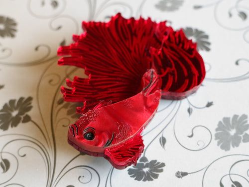 Kimchi and Coconut - Betta Fish Brooch (Red)