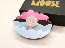 Little moose - Snow monkey brooch