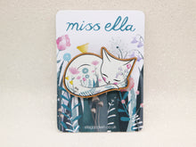 Miss Ella wooden cat brooch - White cat