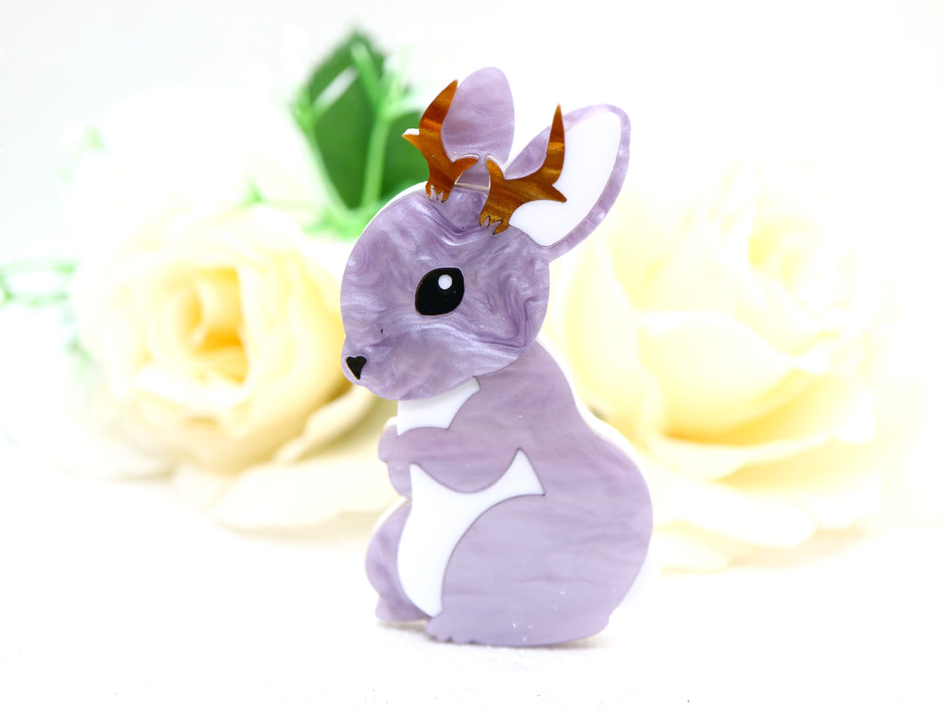 Deer Arrow - Jericho the Jackalope brooch (Purple)