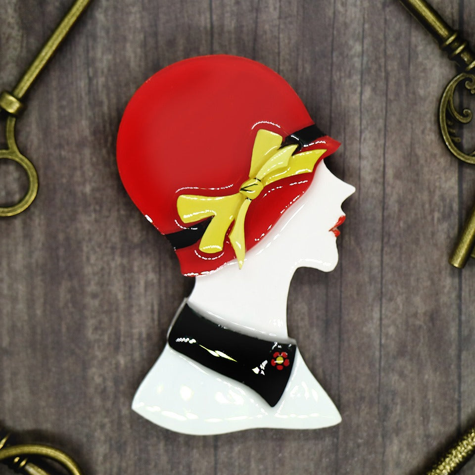 Vera Chan - Lady Portrait Brooch (Red)