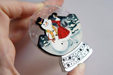 LaliBlue - Snow Globe Brooch – Girl with Snowman