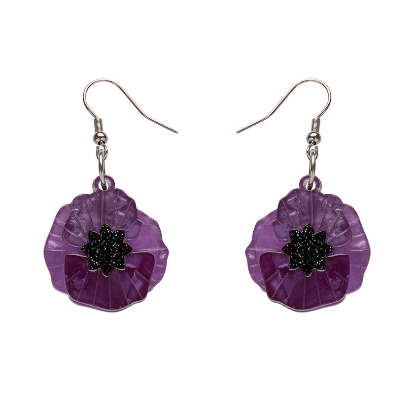 Erstwilder - POPPY FIELD DROP EARRINGS (PURPLE)