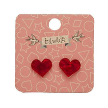 Erstwilder - HEART TEXTURED STUD EARRINGS - RED