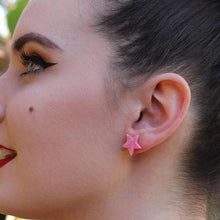 Erstwilder - STAR MARBLE RESIN STUD EARRINGS - PINK