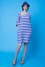 Blue Slant Neck Dress