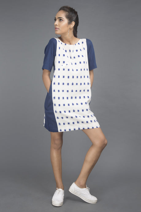 Blue & White Dot Dress