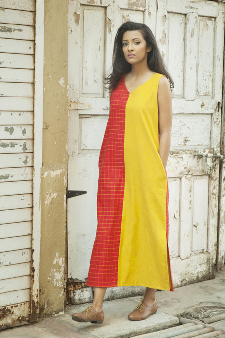 Red & Yellow Sleeveless Maxi Dress