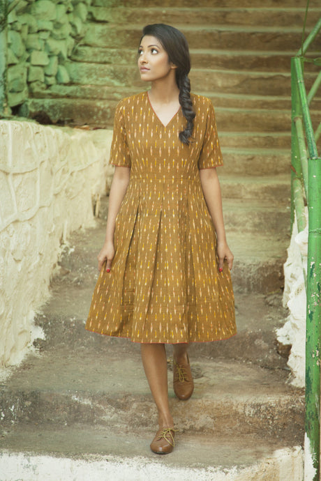 Brown/Mustard Ikat Dress