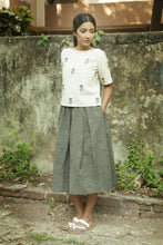 Grey Box Pleated Midi Skirt